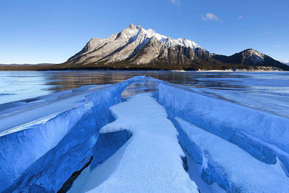 Ice formations with Mount Michener in the background at sunrise, Abraham Lake, Kootenay Plains, Alberta, Canadian Rockies, Canada, North America - 1306-617