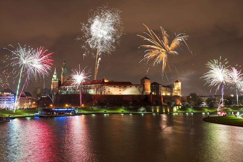 New Year's Eve firework display at Wawel Castle, UNESCO World Heritage Site, Krakow, Poland, Europe