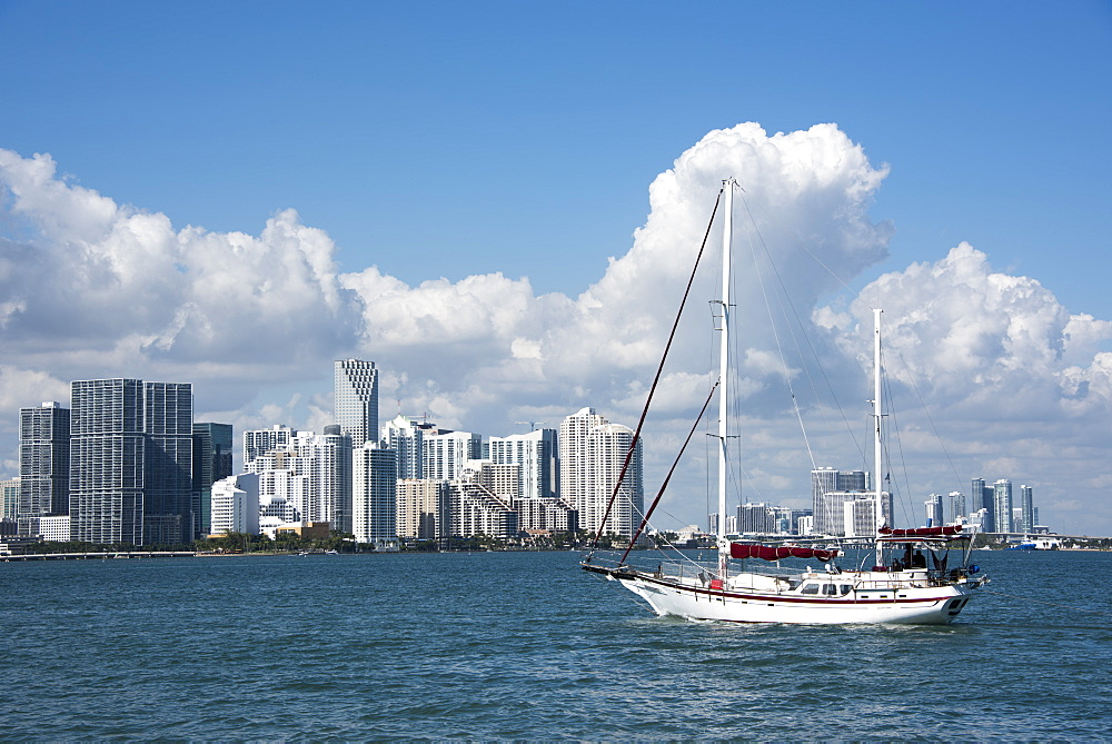 View across the bay to Downtown Miami skyline, Florida, United States of America, North America
