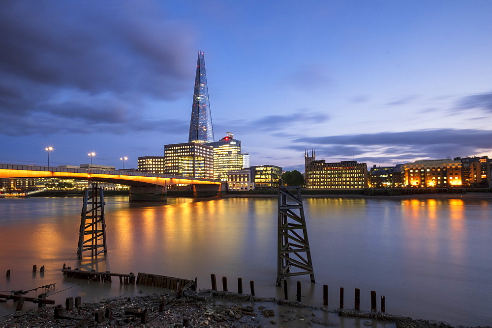 The Shard and London Bridge over the River Thames at night, London, England, United Kingdom, Europe