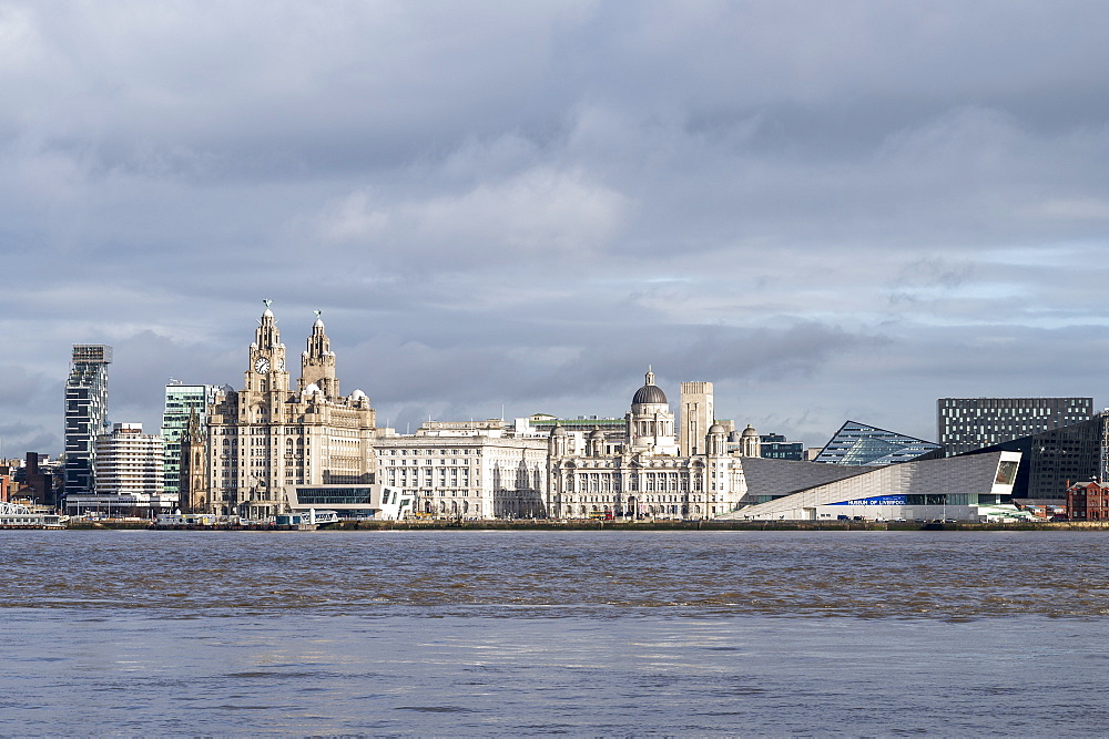 The Liver Buildings, Three Graces and Liverpool Museum, Liverpool, Merseyside, UK