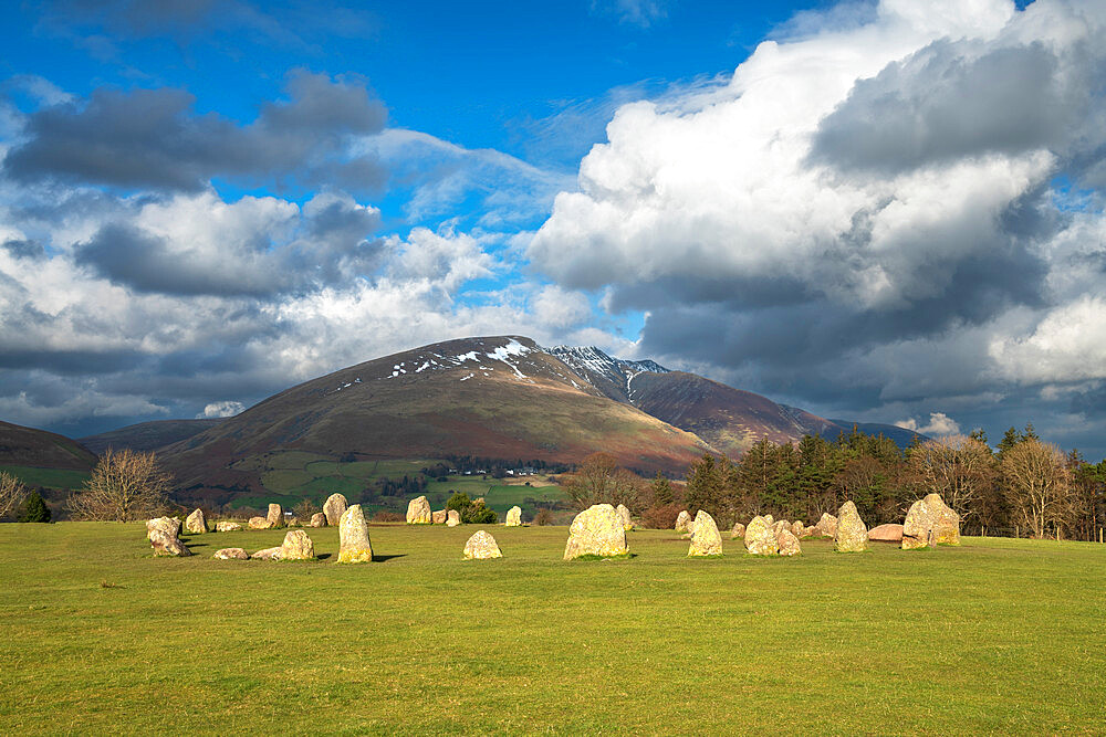 Castlerigg Stone Circle with Blencathra mountain behind, Lake District National Park, Cumbria