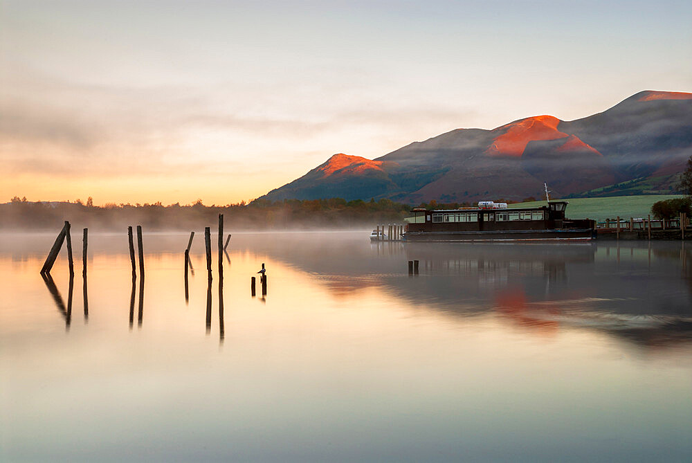 Morning mist on Derwentwater, Lake District National Park, UNESCO World Heritage Site, Cumbria, England, United Kingdom, Europe
