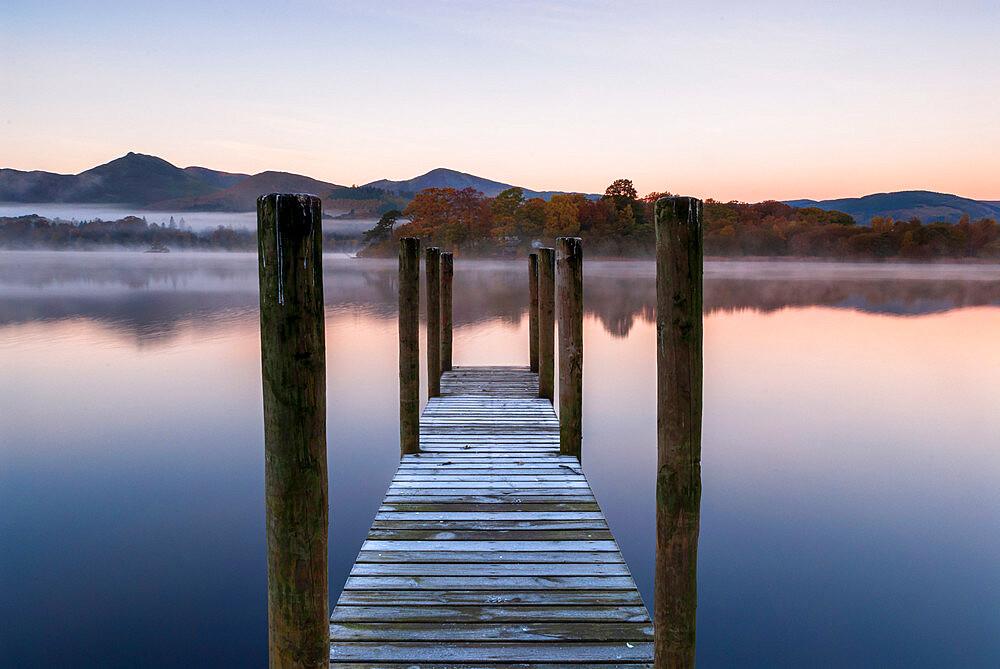 Wooden jetty at Derwentwater, Derwentwater, Cumbria