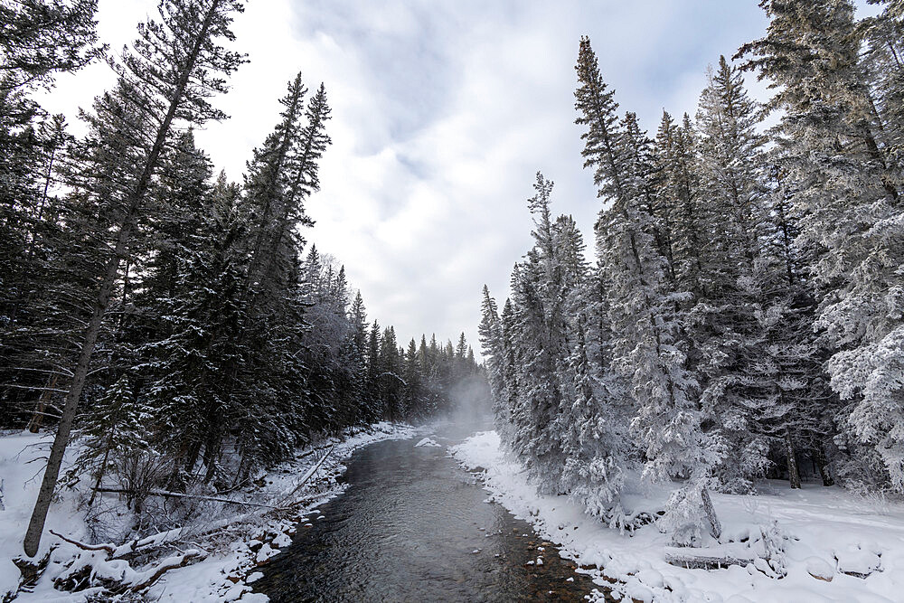 Bow River in winter, Maligne Canyon, Alberta, Canada, North America
