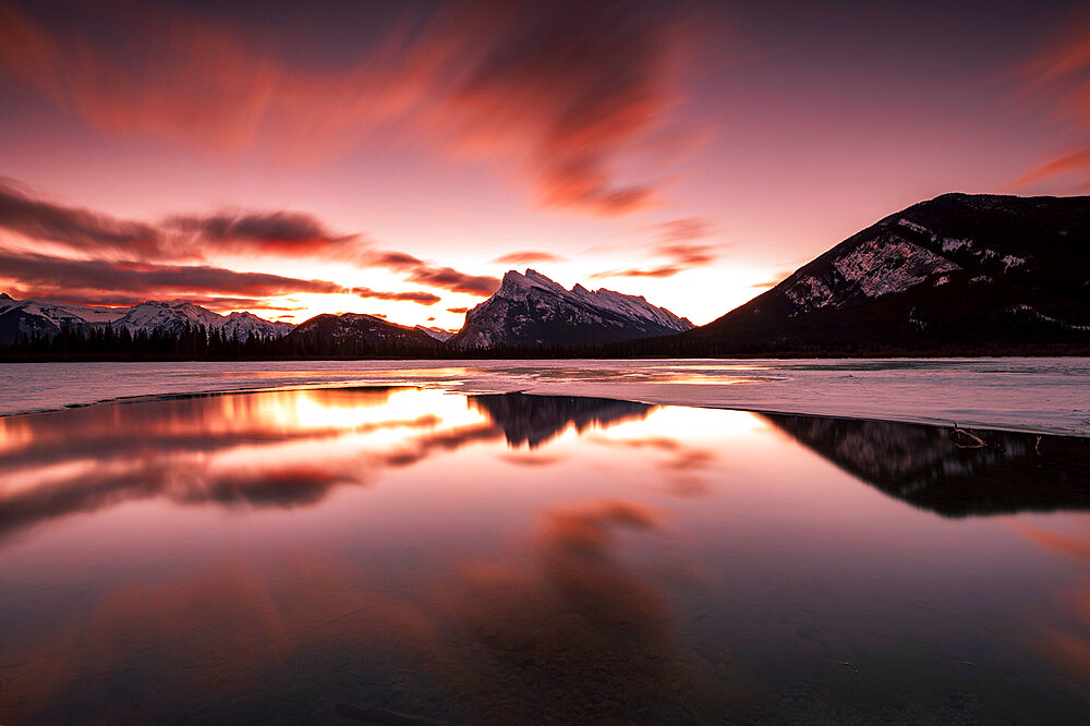 Dramatic sunrise at Vermilion Lakes in the Canadian Rocky Mountains, Banff National Park, UNESCO World Heritage Site, Alberta, Canada, North America