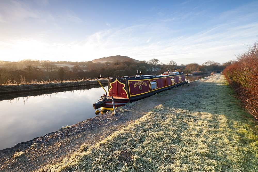 A Canal Barge in Winter with Cloudside in the Distance Congleton, Cheshire - 1306-76