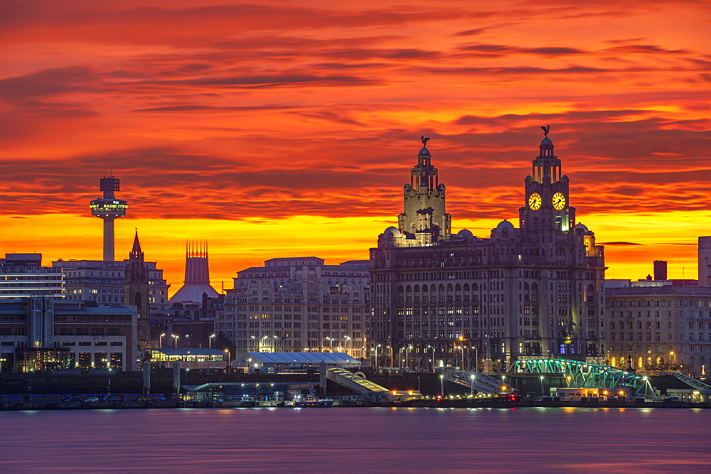 Liverpool Waterfront at sunrise with amazing sky, Liverpool, Merseyside, England, United Kingdom, Europe - 1306-764