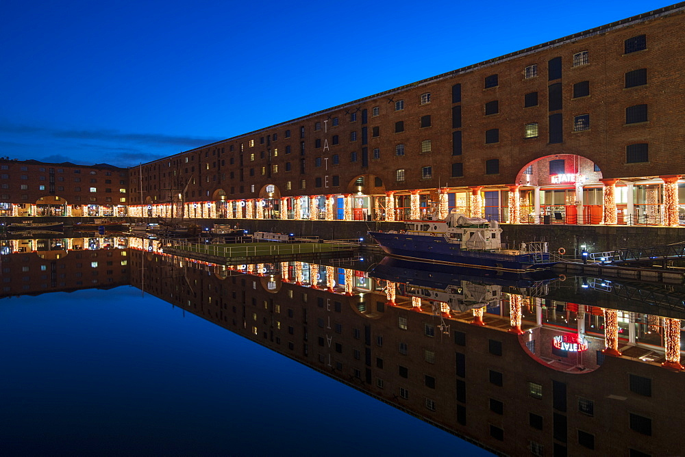 Reflected view at Christmas of The Royal Albert Dock and Tate Museum, Liverpool, Merseyside, England, United Kingdom, Europe - 1306-774