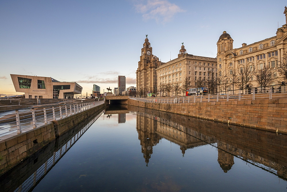 Reflections of The Pier Head on Liverpool waterfront, UNESCO World Heritage Site, Liverpool, Merseyside, England, United Kingdom, Europe - 1306-775