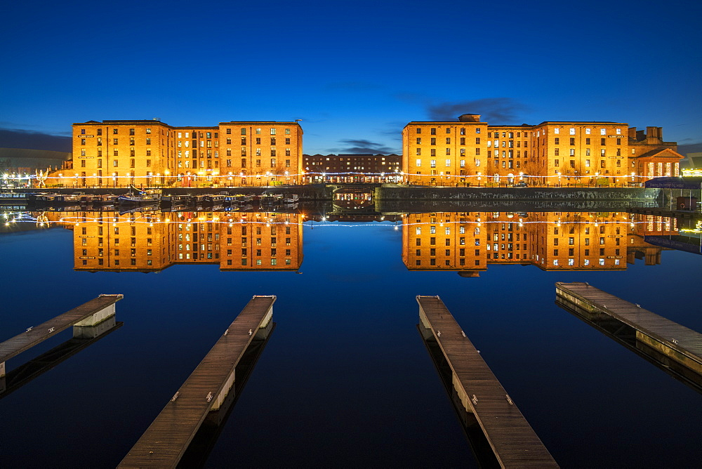 The Royal Albert Dock with perfect reflections at night, UNESCO World Heritage Site, Liverpool, Merseyside, England, United Kingdom, Europe - 1306-777