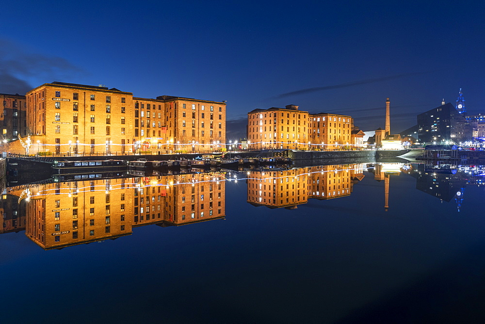The Royal Albert Dock reflected at night, UNESCO World Heritage Site, Liverpool, Merseyside, England, United Kingdom, Europe - 1306-778