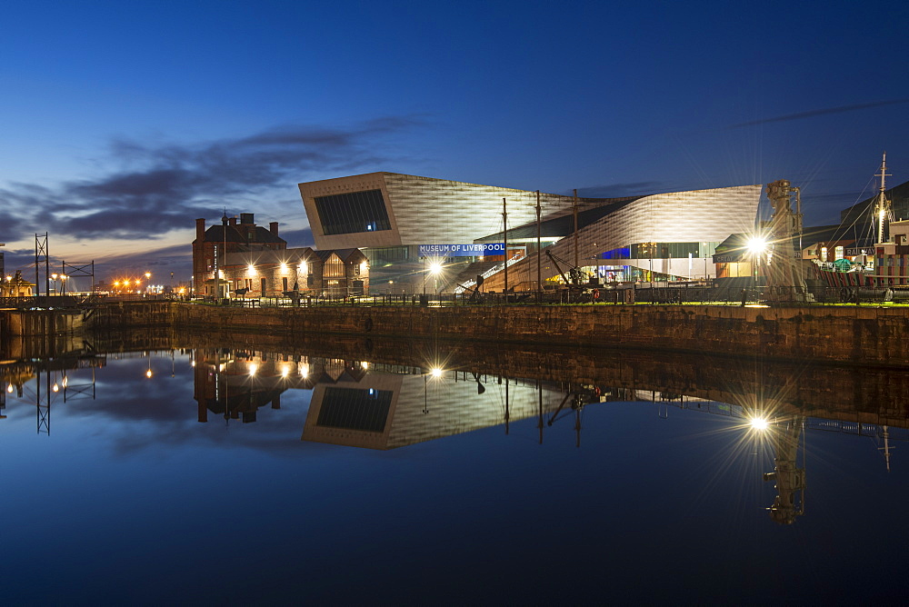 The Museum of Liverpool reflected at night, Liverpool, Merseyside, England, United Kingdom, Europe - 1306-786