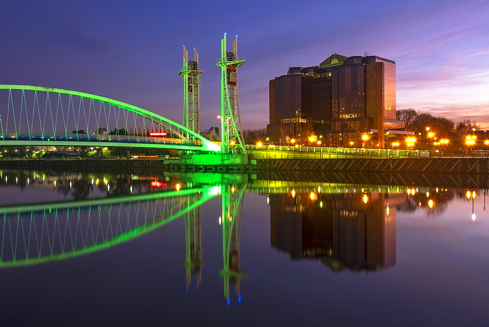 Salford Quays Lift Bridge at night in Salford Quays, Manchester, England, United Kingdom, Europe