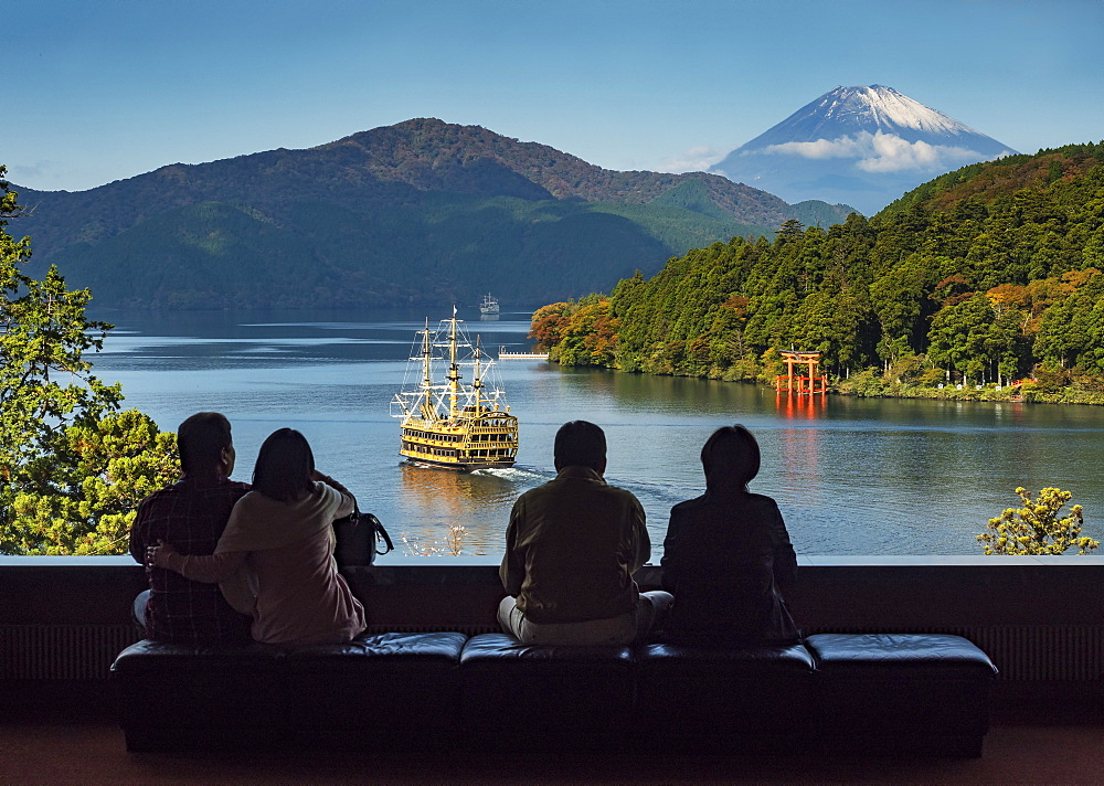 Viewing Mount Fuji from Lake Ashinoko, Hakone, Japan, Asia