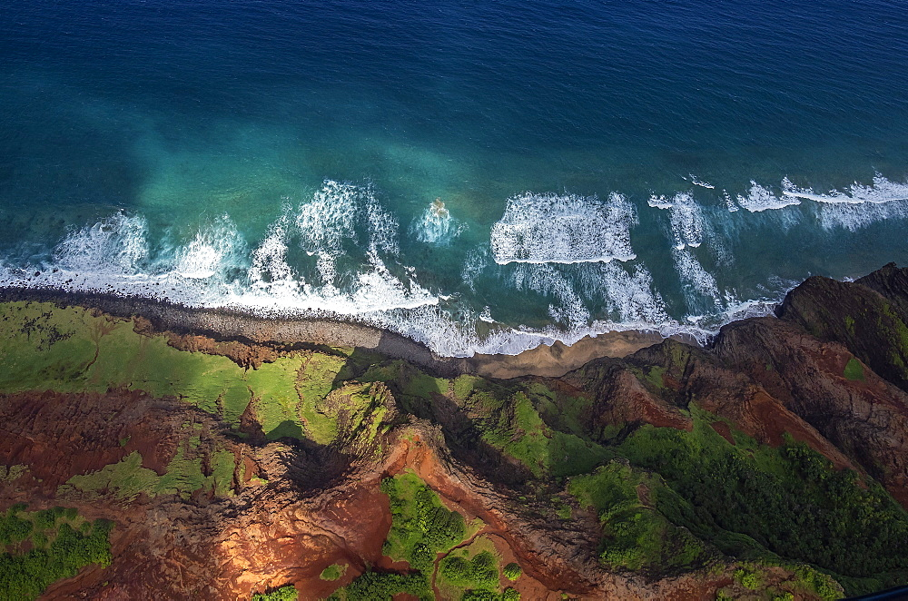 Aerial view over Na Pali coast, Kauai, Hawaii, United States of America