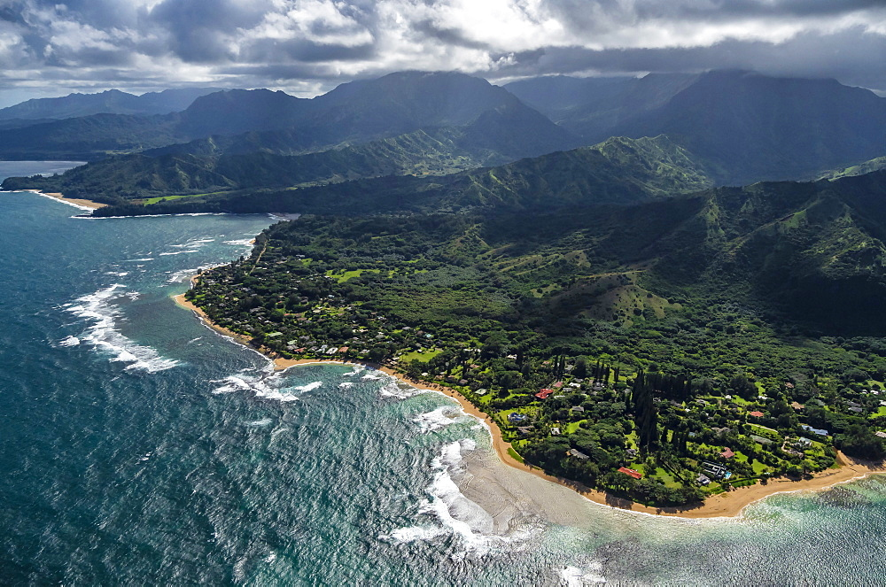 Aerial view of Tunnels Beach, north coast of Kauai, Hawaii, United States of America