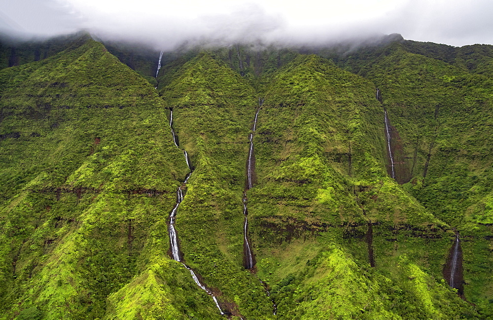 Mount Waialeale Waterfalls, also known as Rippling Falls, central Kauai, United States of America