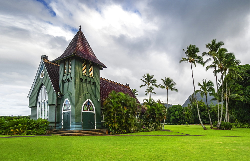 Gothic style Christian church, Wai'oli Hui'ia in Hanalei, Hawaii, United States of America