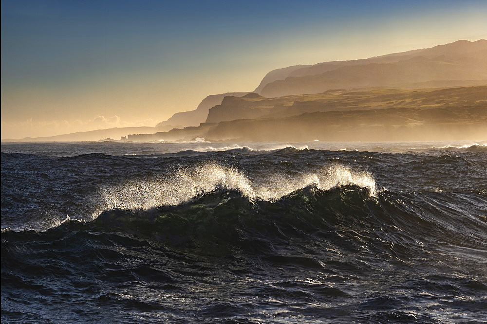 Windswept waves at Mo'omomi Beach at sunrise, north west coast of Molokai, Hawaii, United States of America