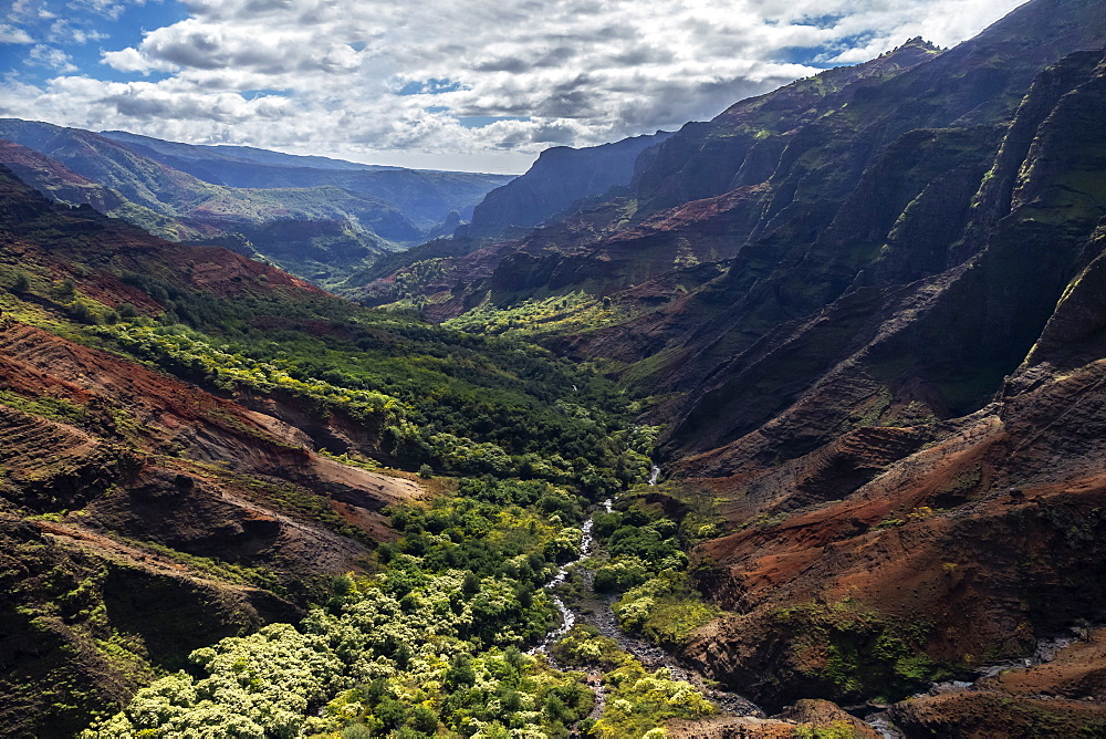 Aerial view of Waimea Canyon, also known as The Grand Canyon of the Pacific, Kauai, United States of America