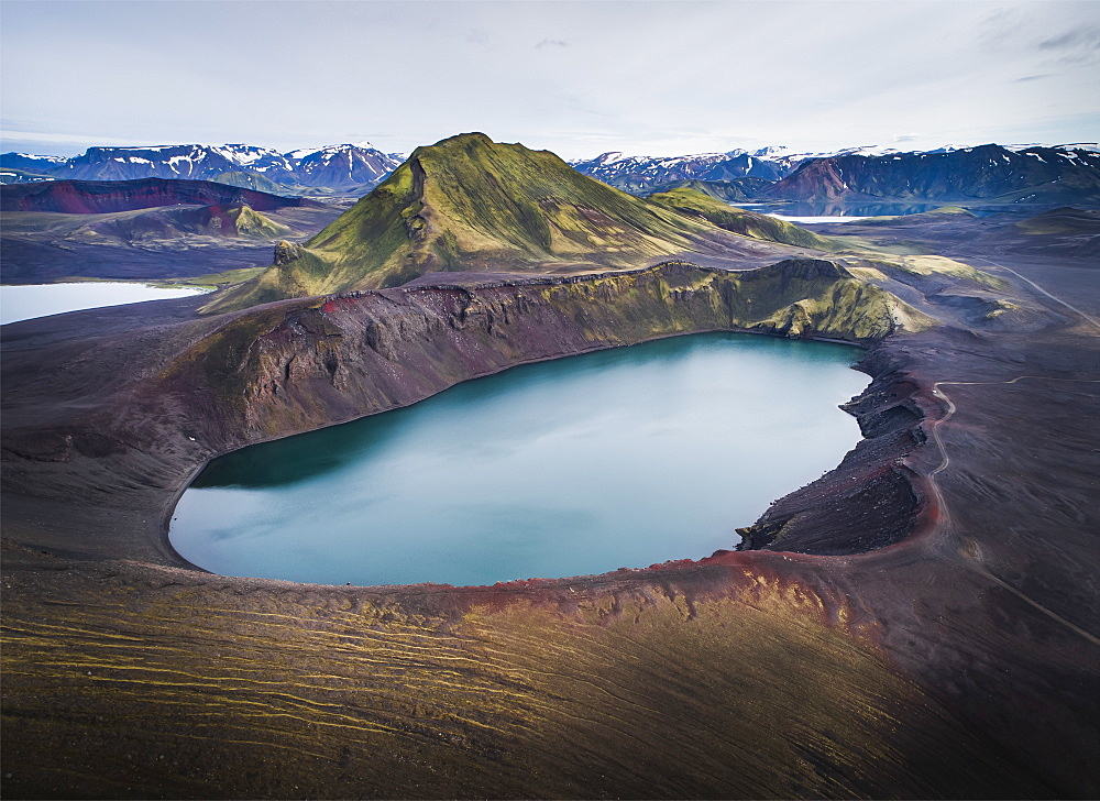 Aerial view of Hnausapollur (Blahylur), a volcanic crater near Landmannalaugar, Fjallabak Nature Reserve, Southern Region. (drone) - 1309-1