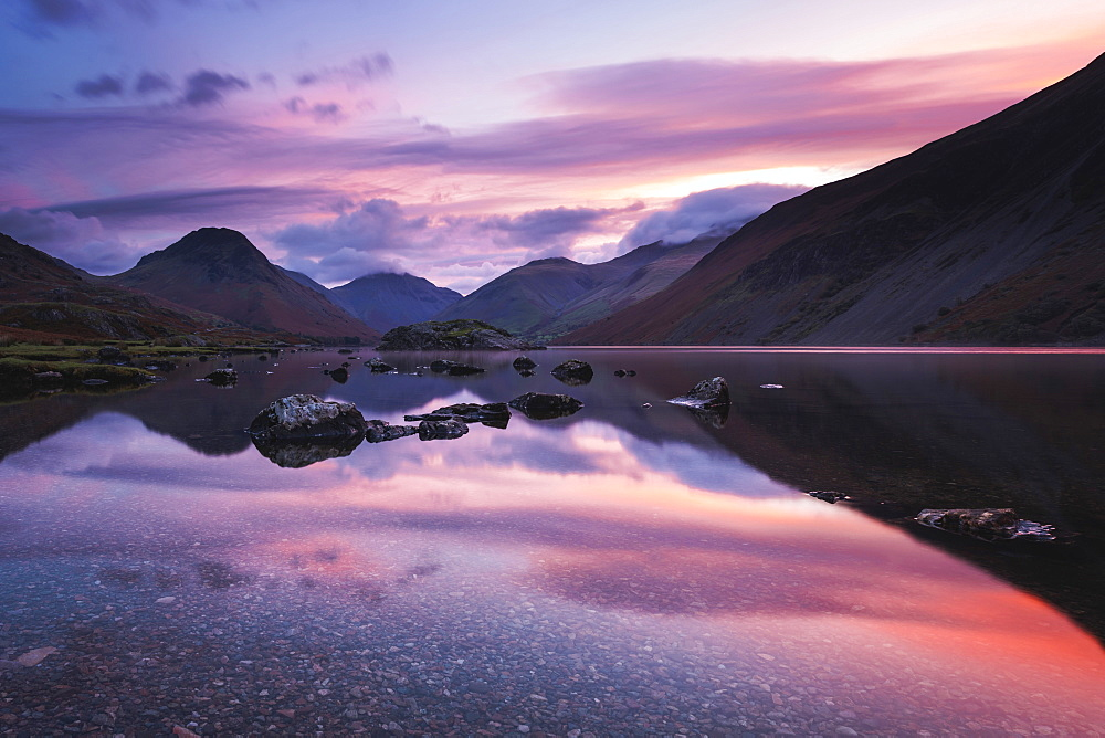 Pink clouds reflected in tranquil Wast Water, dawn, Wasdale, Lake District National Park, UNESCO World Heritage Site, Cumbria, England, United Kingdom, Europe - 1309-10