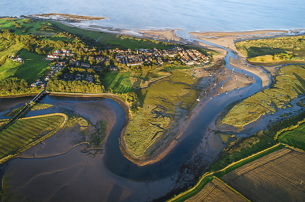 Aerial view of the meandering estuary of the River Aln, Alnmouth, Northumberland, England, United Kingdom, Europe - 1309-2