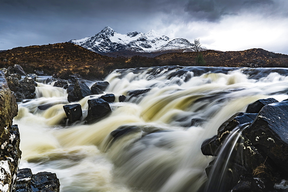 View to the Black Cuillin across the Allt Dearg Mor river, Sligachan, Isle of Skye, Inner Hebrides, Highland, Scotland, United Kingdom, Europe