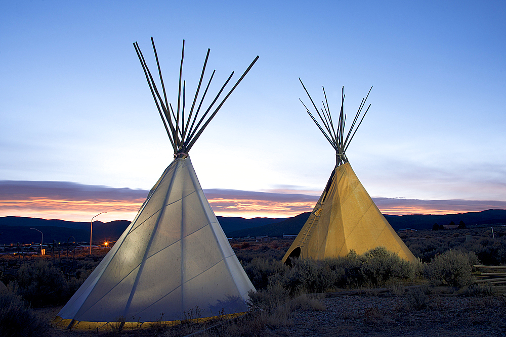 Teepees (tipis) on display at sunset in Taos, New Mexico, United States of America, North America - 1315-142