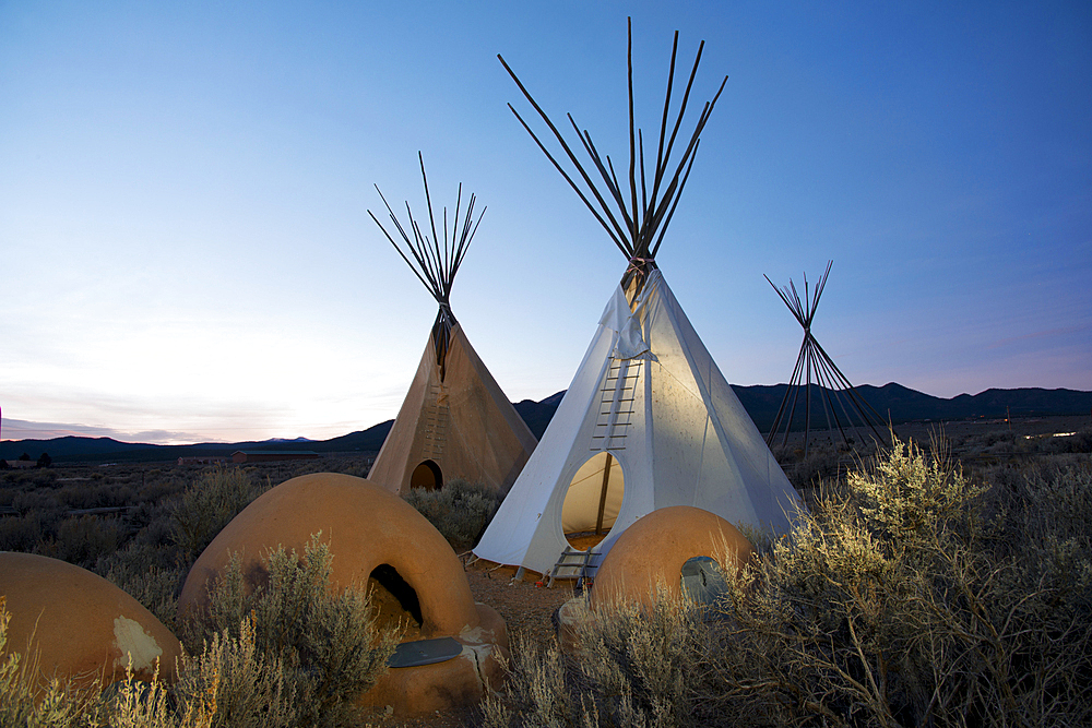 Teepees (tipis) on display at dusk in Taos, New Mexico, United States of America, North America - 1315-144