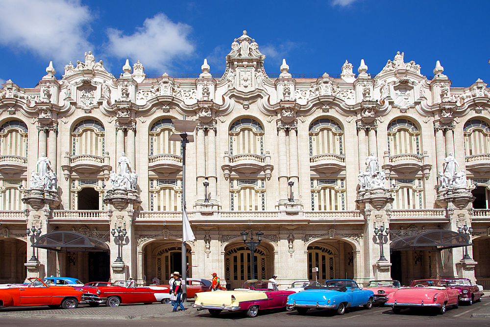 Vintage cars parked outside the Gran Teatro de La Habana, Havana, Cuba, West Indies, Caribbean, Central America
