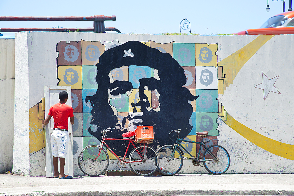 Images of Che Guevara along a street in Havana, Cuba, West Indies, Caribbean, Central America - 1315-72