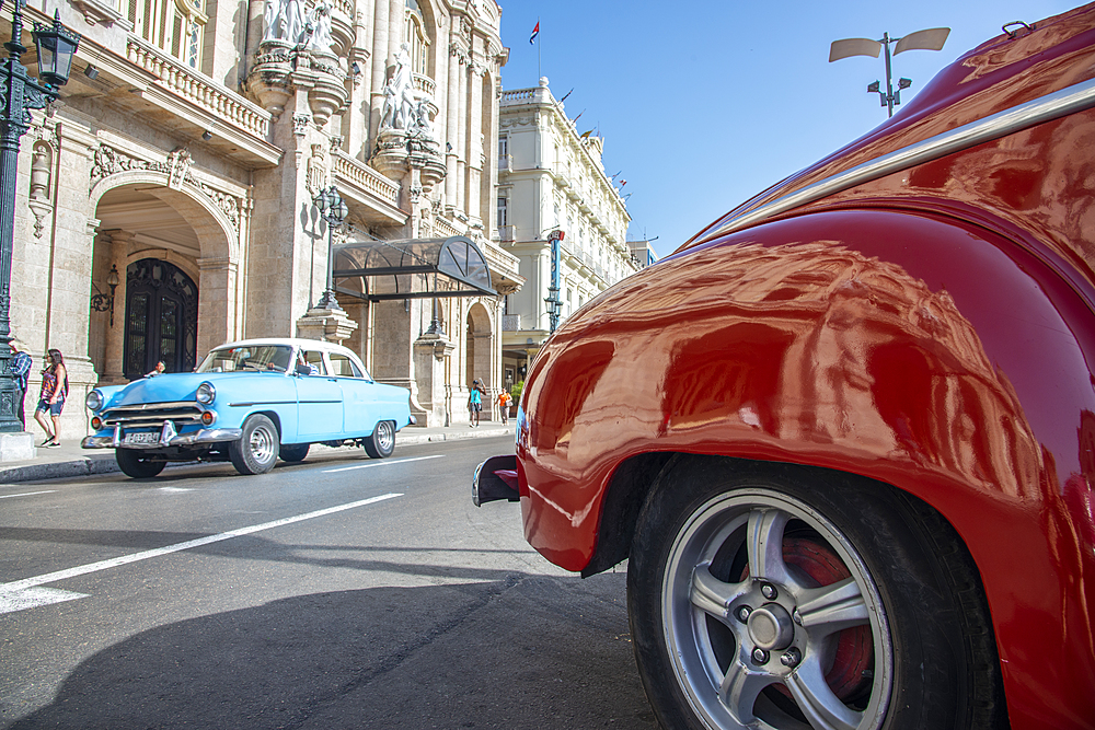 Great Theatre of Havana (Gran Teatro de La Habana), reflected in the fender of a vintage car in Havana, Cuba, West Indies, Caribbean, Central America