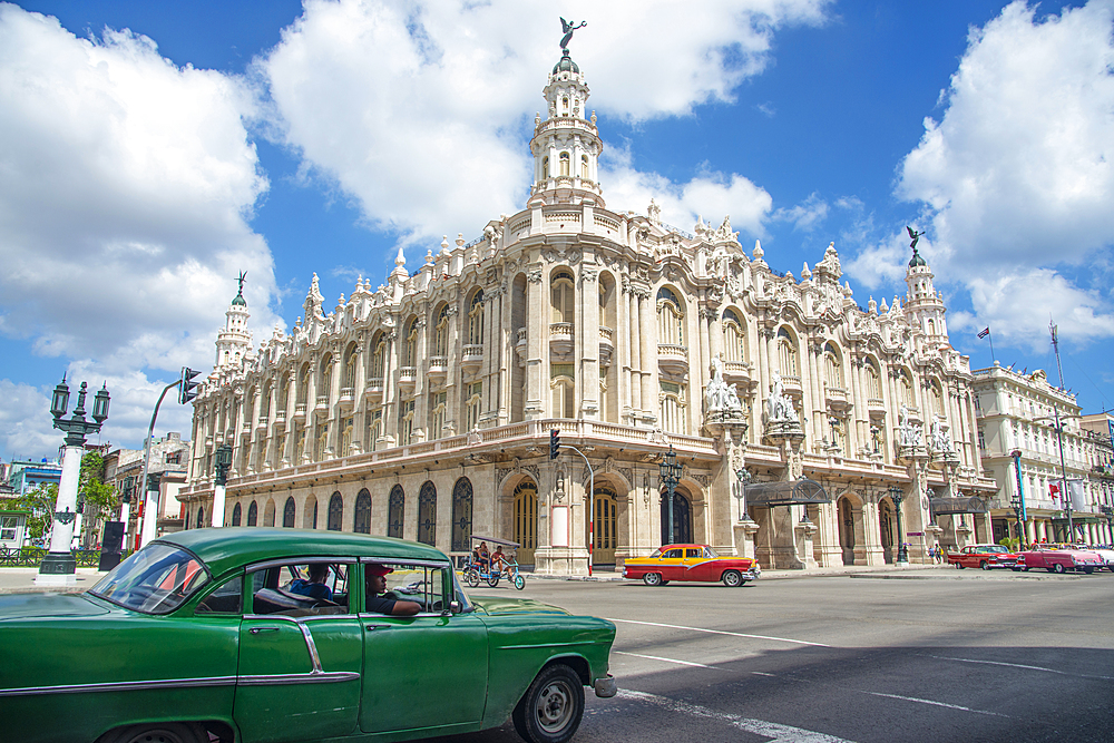 Street scene with vintage cars and the Gran Teatro de La Habana, Havana, Cuba, West Indies, Caribbean, Central America