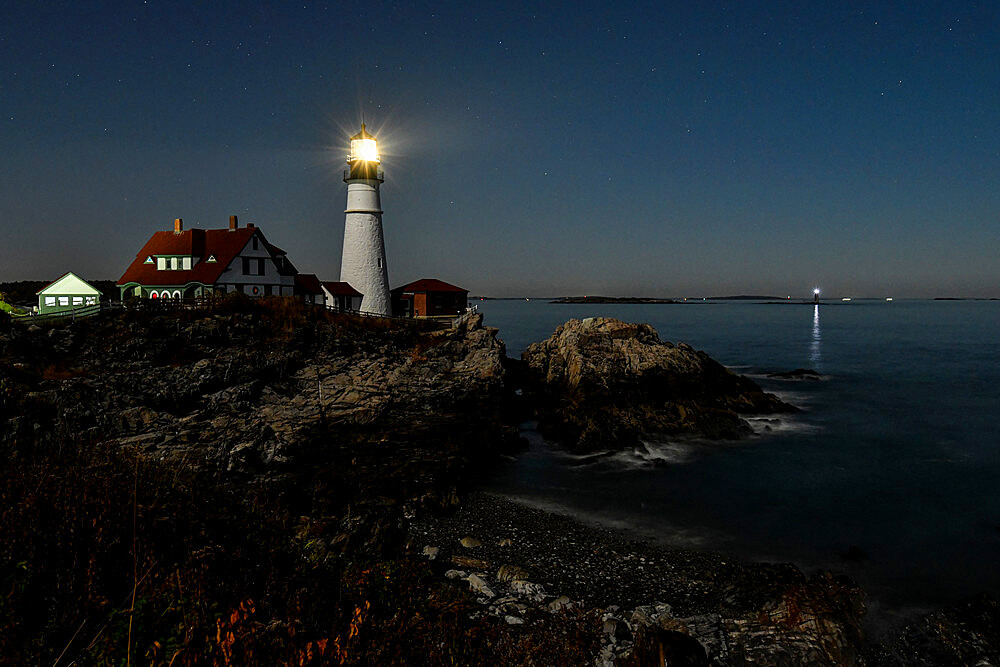 Portland Head Light at night, Cape Elizabeth, Maine, New England, United States of America, North America