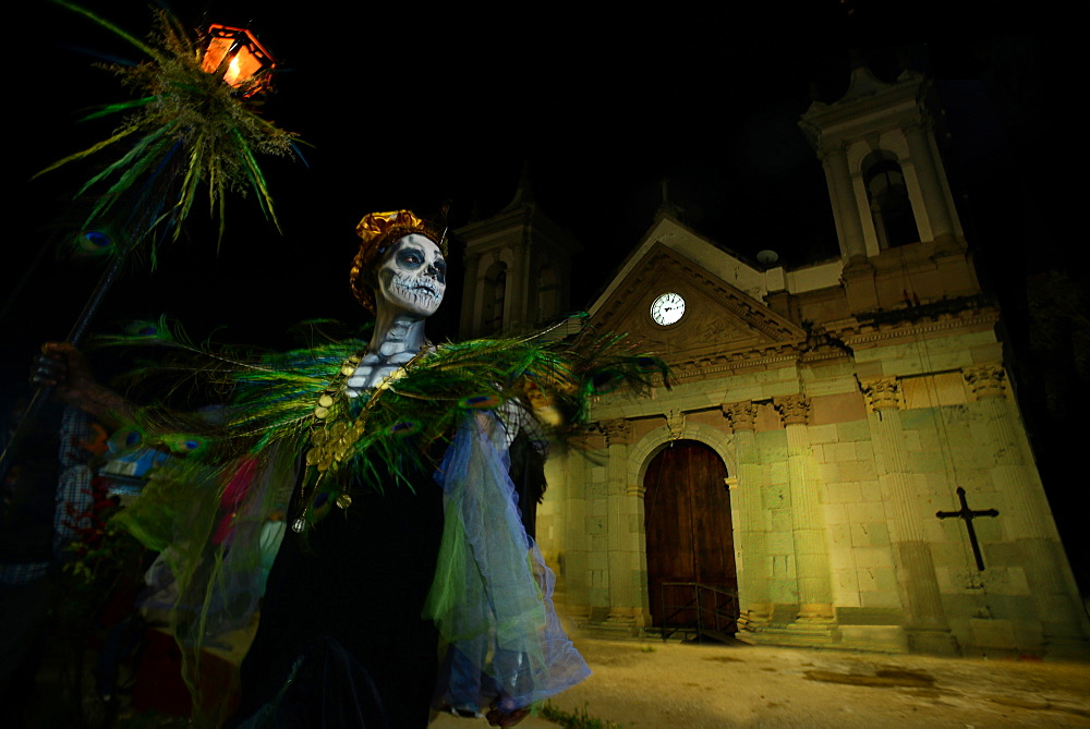 Comparsas (street dances) at the village of San Jose Etla where people disguise as mythical creatures, Oaxaca, Mexico, North America