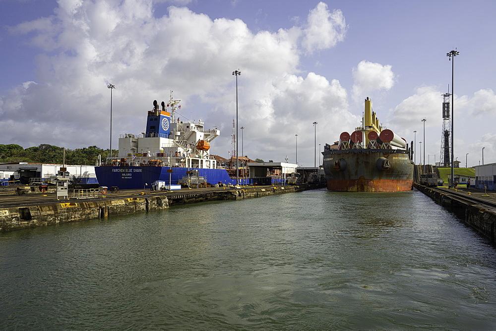 Cargo Ships in the Gatun Locks, Panama Canal, Panama, Central America - 1320-89