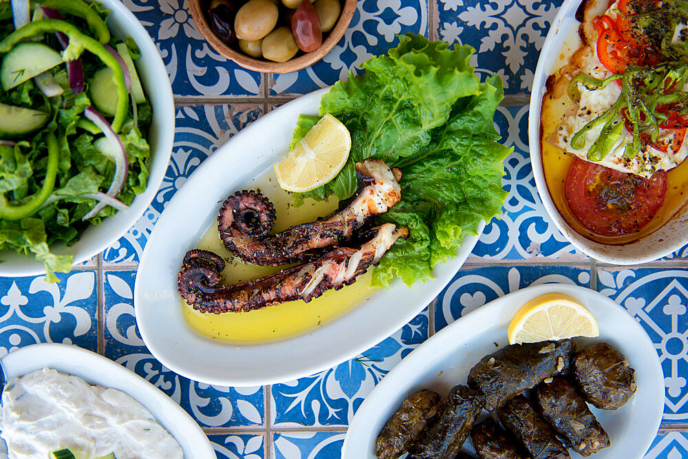 Octopus and other greek dishes, Ialyssos Beach, Rhodes, Dodecanese, Greek Islands, Greece, Europe