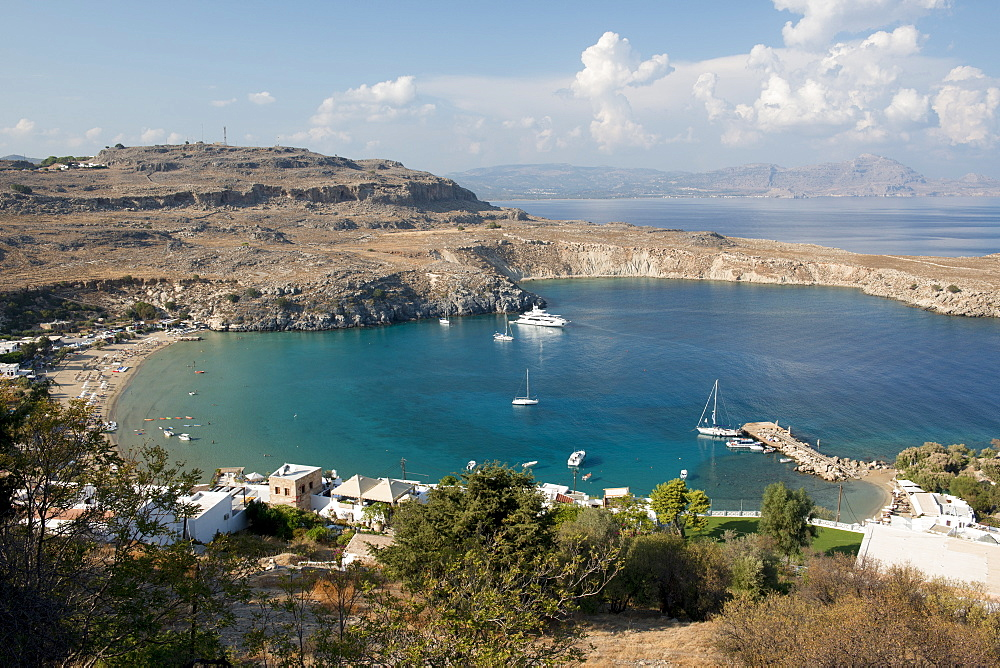 View over Lindos beach, Lindos, Rhodes, Dodecanese, Greek Islands, Greece, Europe