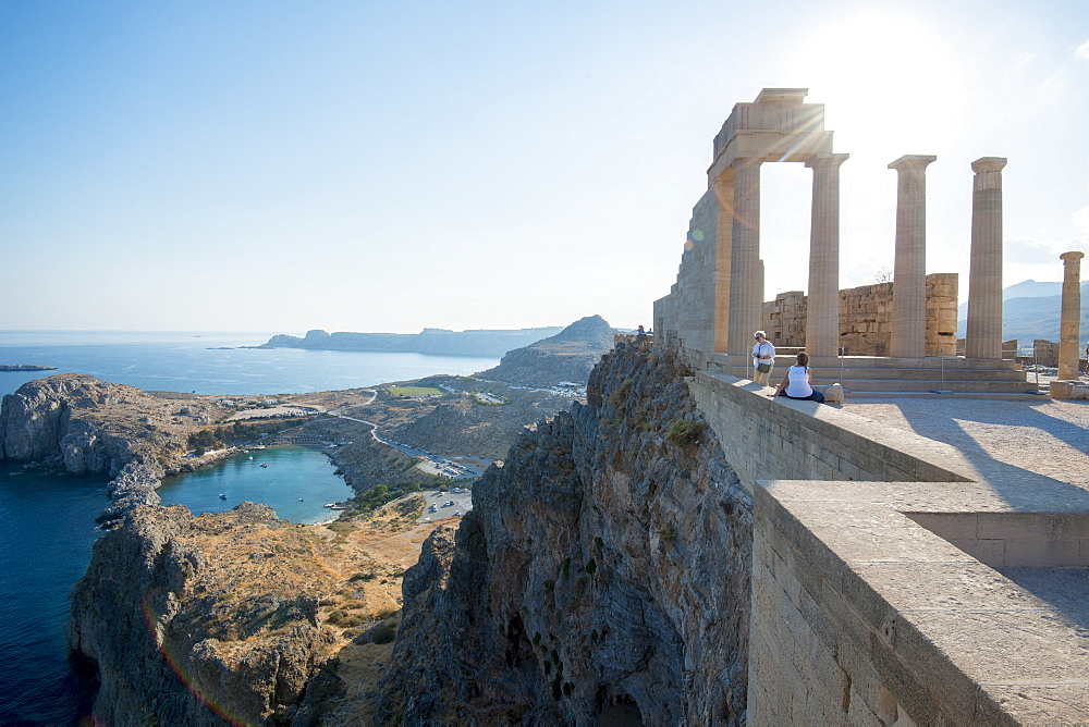 View over St Pauls Bay from the Acropolis of Lindos, Rhodes, Greece