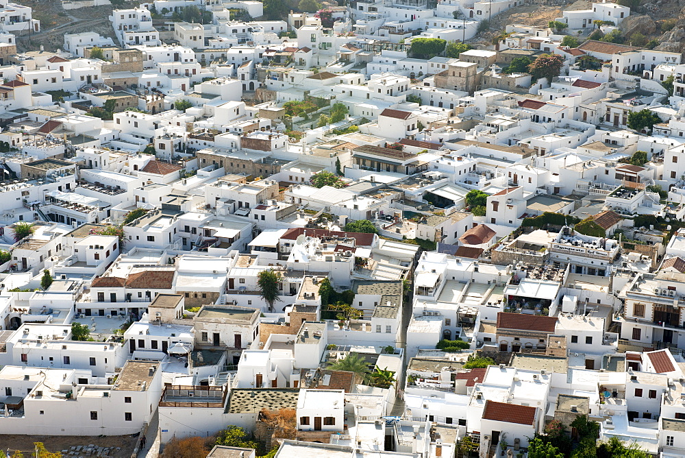 View of traditional white houses in Lindos town, Rhodes, Dodecanese, Greek Islands, Greece, Europe