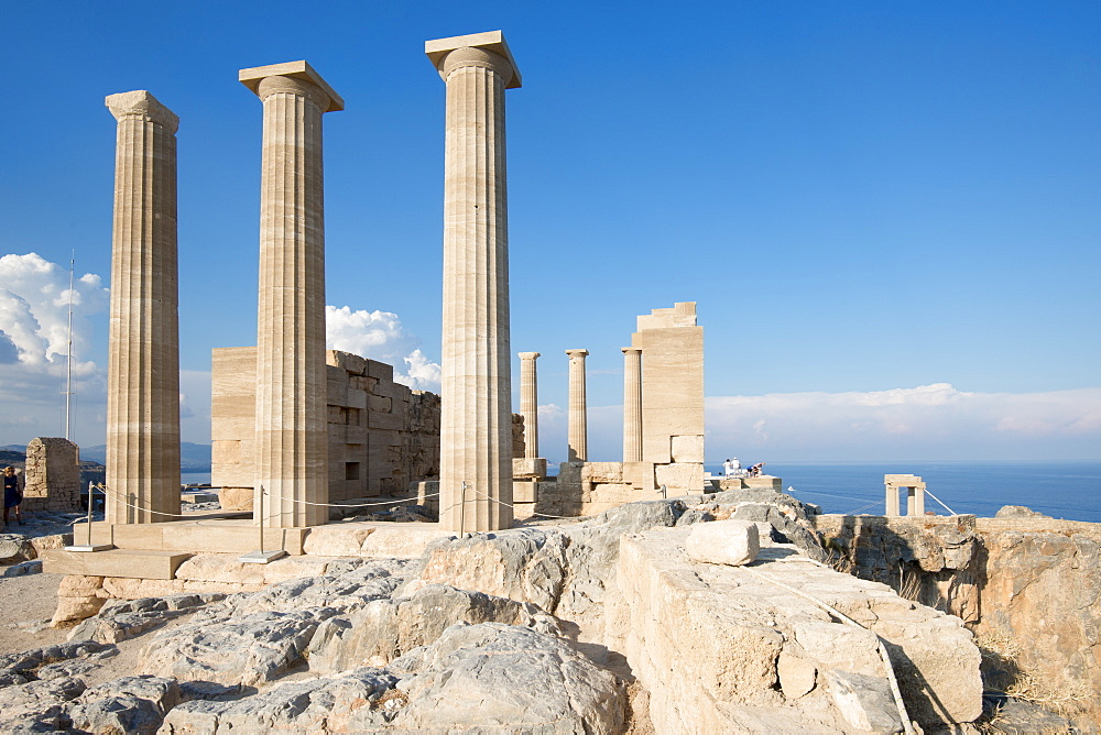 Acropolis of Lindos, Rhodes, Dodecanese, Greek Islands, Greece, Europe