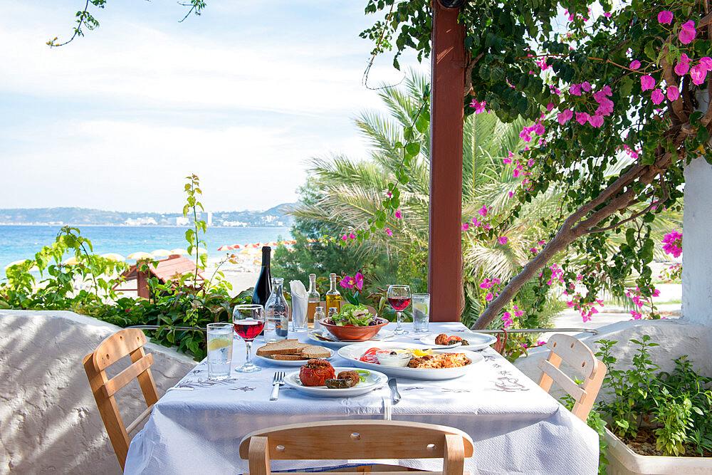 Greek Restaurant in Ialyssos, Rhodes, Dodecanese, Greek Islands, Greece, Europe
