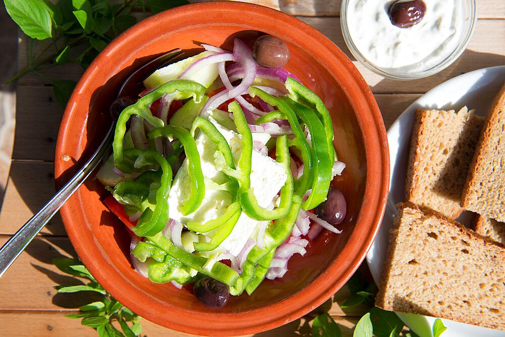 Greek Restaurant in Ialyssos, Rhodes, Dodecanese, Greek Islands, Greece, Europe - 1331-27