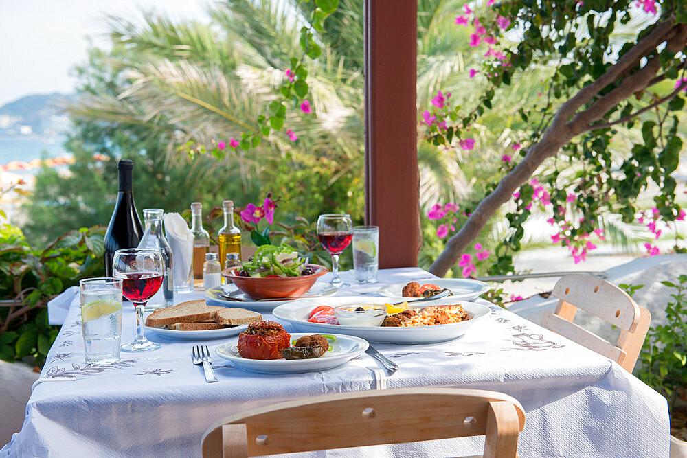 Greek Restaurant in Ialyssos, Rhodes, Dodecanese, Greek Islands, Greece, Europe - 1331-28
