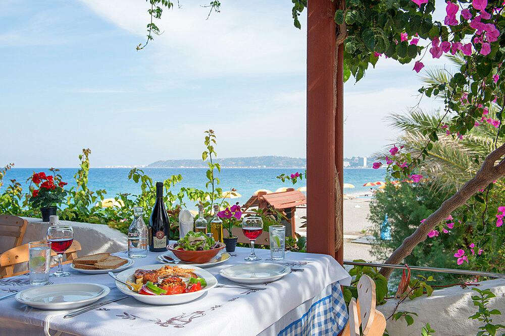 Greek Restaurant in Ialyssos, Rhodes, Dodecanese, Greek Islands, Greece, Europe - 1331-35