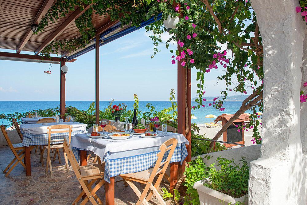 Greek Restaurant in Ialyssos, Rhodes, Dodecanese, Greek Islands, Greece, Europe - 1331-39