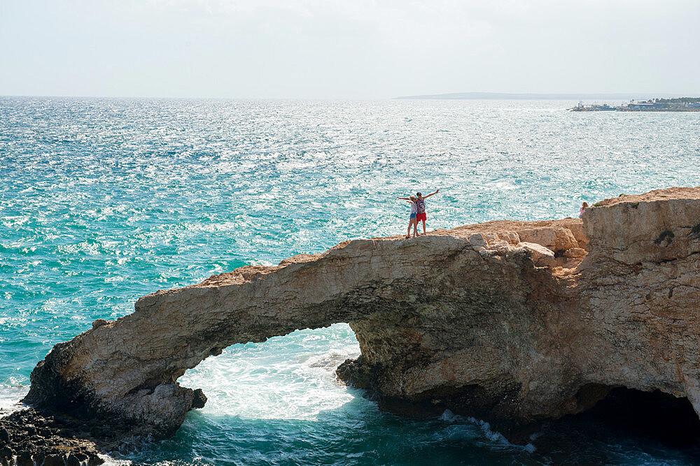 Tourists taking selfies on Monachus Monachus Arch Protaras, Cyprus, Mediterranean, Europe