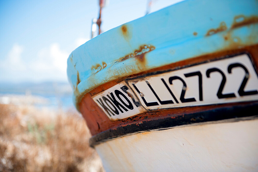 Close up of a boat, St. George Beach, Paphos, Cyprus, Mediterranean, Europe